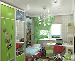 Зеленая детская в современном стиле