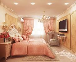 Персиковая спальня с элементами Барокко