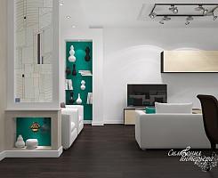 Современный модерн в интерьере кухни-гостиной