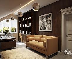 Интерьер кабинета на мансардном этаже